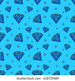 Vector seamless pattern with gem and diamond icons. Texture and design element with jewerly flat icon