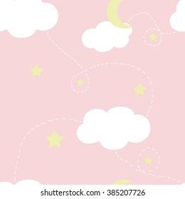 Vector Seamless Pattern gentle children's background, night sky,  dream. pink