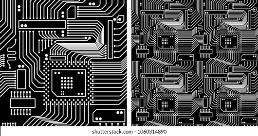 Vector seamless pattern, Geometric abstract background, Decorative textures, Printed circuit board: PCB, Electronic