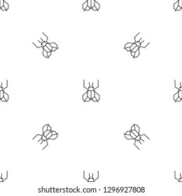 Vector seamless pattern in geometric line art style with insects housefly.