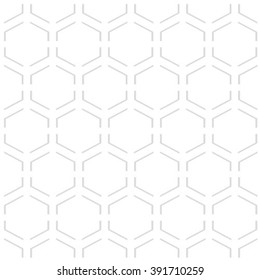Vector seamless pattern - geometric modern hexagon polygon gray and white background