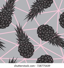Vector seamless pattern with geometric pineapple fruits on gray background. Vector illustration is perfectly for fabric, textile, wrapping paper and other decoration design.