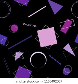 Vector seamless pattern. Geometric pattern of simple shapes. On a black background