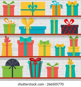 Vector seamless pattern of gift boxes on the shelves. Gift shop.