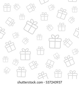 Vector seamless pattern with gift boxes. Monochrome minimal background