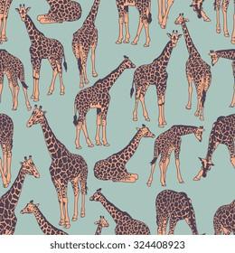 Vector seamless pattern with giraffes