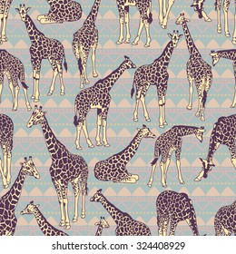 Vector seamless pattern with giraffes and fabric ornament