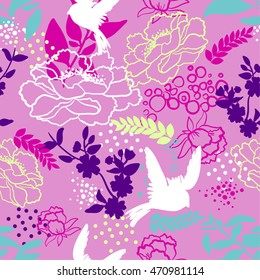 Vector seamless pattern for girls with birds, butterfly and flowers. Stylish graphic design. Fashion Girlish print.
