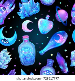 Vector seamless pattern with glass flasks. Magic potions: tubes and bottles. Wrapping paper. Titled illustration. Magical elements: moon, crystals, Saturn,  Alchemy and vintage science.
