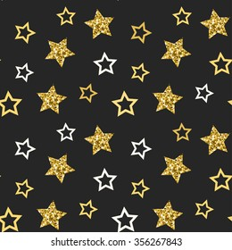 Vector seamless pattern with glittering stars