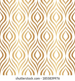Vector seamless pattern. Gold abstract geometric background. Modern stylish floral texture. Golden lattice. Peacock feather. Bohemian design for prints. Repeating elegant flowers. Ditsy bird plumage