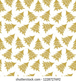 Vector seamless pattern with gold christmas trees on white background. Perfect for wrapping paper or fabric. Merry Christmas or Happy New Year.
