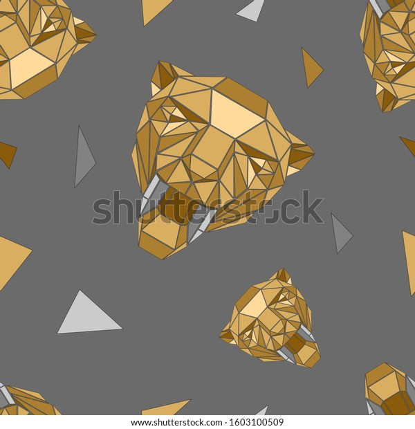 Vector seamless pattern with a Golden geometrical tiger of triangles.