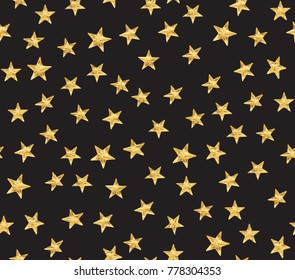 Vector seamless pattern of golden metallic star studs on dark background.