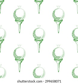 Vector seamless pattern. Pattern with golf elements background. Golf - seamless background. Background for use in design, web, packing, textile. golf ball