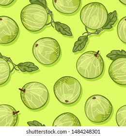 Vector Seamless Pattern of Gooseberries on Green Background