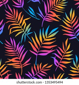 Vector seamless  pattern with gradient rainbow tropical leaves on dark. Summer background with exotic plants. Use in textiles, interior, wrapping paper and other design.