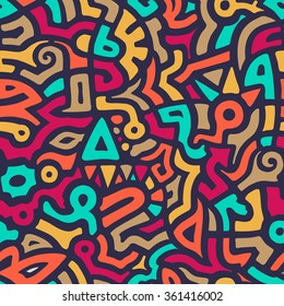 Vector Seamless Pattern with Graffiti Curve Shapes. Mix of Colorful Shapes. Modern Art Background