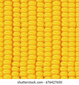 Vector seamless pattern with a grain of corn. Vector illustration in realistic style. Perfect for fabric, textile, wrapping paper and other decoration design.