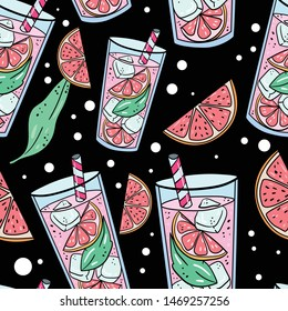 Vector seamless pattern with grapefruit, parts, leaf and lemonade cocktail on black background. Good for printing. Wallpaper, fabric and textile design. Botanical illustration. Wrapping paper idea.