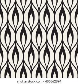 Vector seamless pattern. Graphic monochrome ornament. Floral stylish background. Repeating texture with stylized leaves.