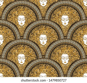 Vector seamless pattern with Greek meander borders in fish scale order. Medusa Gorgon, fan shaped serpent golden hair. Gold, black and beige Art deco wallpaper, wrapping paper, silk textile print