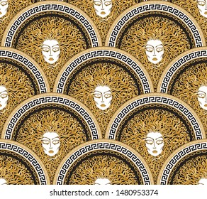 Vector seamless pattern with Greek meander borders in fish scale order. Medusa Gorgon face, fan shaped serpent hair. Gold, beige, black and white Art deco wallpaper, wrapping paper, silk textile print
