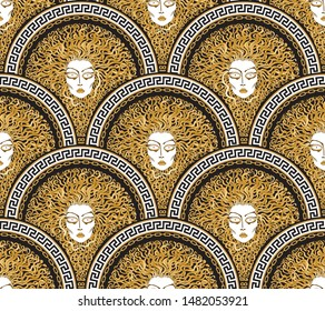 Vector seamless pattern with Greek meander borders in fish scale order. Medusa Gorgon face, fan shaped serpent hair.Gold, beige, black and white Art deco wallpaper, wrapping paper, silk print