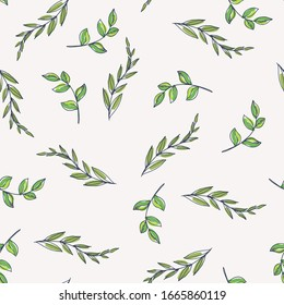 Vector seamless pattern with green branches isolated on white. Hand drawn floral texture with leaves in sketch style.