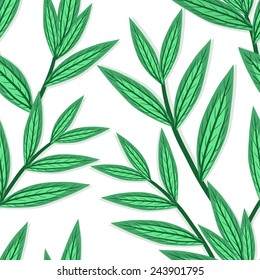 Vector seamless pattern with green leaves. Natural texture with branches.