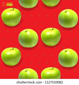 Vector seamless pattern with green realistic apples on a scarlet background. It can be used as a print on textiles, wrapping paper, wallpaper, bedding, tablecloth, etc.