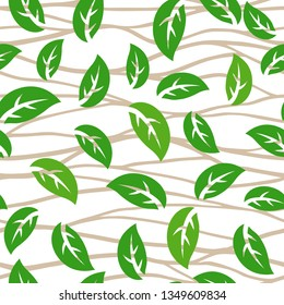 Vector seamless pattern with green tree leaves