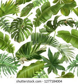 Vector seamless pattern with green tropical leaves on white background.   Best as wrapping paper, wallpaper