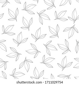 Vector Seamless pattern with grey peony leaves. Vector Hand drawn doodle illustration. For scrapbooking, packaging, fabrics, wallpaper, textiles.