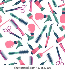Vector seamless pattern of hairdresser and equipment
