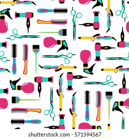 Vector seamless pattern of hairdressing color equipment