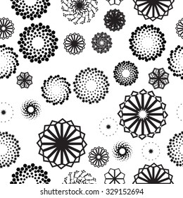Vector Seamless Pattern . Halftone Dots and Spirals