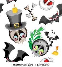 Vector seamless pattern for Halloween holiday. Consists of big-eyed skulls in a top hat and with greenery with bats. White background