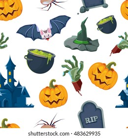 vector seamless pattern of Halloween icons set