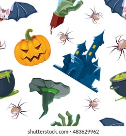 vector seamless pattern of Halloween icons set isolate on white background.