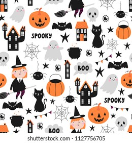Vector seamless pattern for halloween on white background