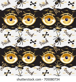 Vector seamless pattern for Halloween in the style of anime monster glitter glossy golden open eyes,bones,spider,golden sand.Trick or treat text.Scary, fantasy,happy halloween pattern background.