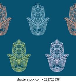 Vector seamless pattern with hamsa