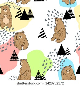 Vector seamless pattern with hand draw cartoons bears with tree, berry, flowers and absract shape and dots in skandinavian style. Childish background with cute bears in forest.