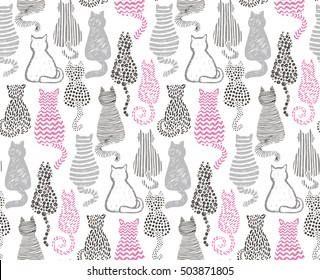 Vector seamless pattern with hand draw textured cats in graphic doodle style. Grey and pink colored endless background.