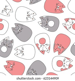 Vector seamless pattern with hand draw cats in doodle style. Grey and pink colored endless background. Childish pattern