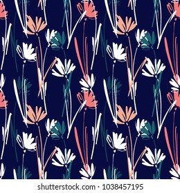 Vector seamless pattern with hand drawing wild plants, herbs and flowers, colorful botanical illustration, floral elements, hand drawn repeatable background. Artistic backdrop.