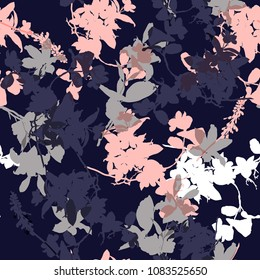 Vector seamless pattern with hand drawing wild botanical and flowers, colorful  illustration, floral elements, for fasshion fabric and all prints on navy blue background.
