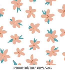 Vector seamless pattern with hand drawing wild flowers, colorful botanical illustration, floral elements, hand drawn repeatable background. Sweet and simple pastel repeat.