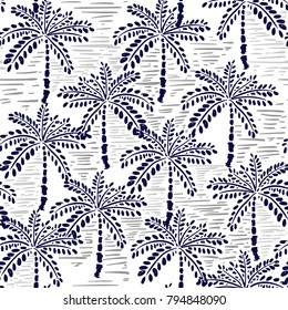 Vector seamless pattern of hand drawing forest for summer tropical prints mixed with monotone hand painting stripe and exotic trees on white.